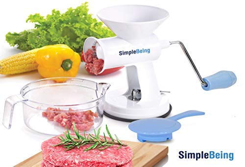 Simple Being Manual Meat Grinder Set w/Stainless Steel Blades, Powerful Suction Base, All Purpose...