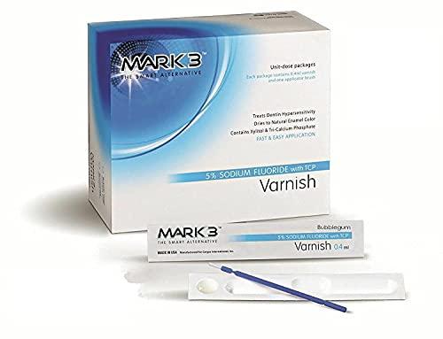 Varnish 5% Sodium Fluoride Unit-Dose Package (2 x 5 Pcs) Bubblegum, Mint or Caramel - Made in USA (Bubblegum Flavor, Pack of 50)