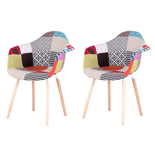 GrandCA Home Pack de 2 sillas,sillas de Comedor Patchwork Tela de Lino Butaca, Silla de salón, sillas de recepción, Silla de Cocina (Rojo-A5)