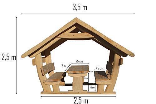 Ulrich Gartenpavillon Sitzgruppe mit Dach Sitzbank Gartenhause Sitzlaube Holzpavillon Outdoor Möbel Gartenlaube Platz für 8 Personen