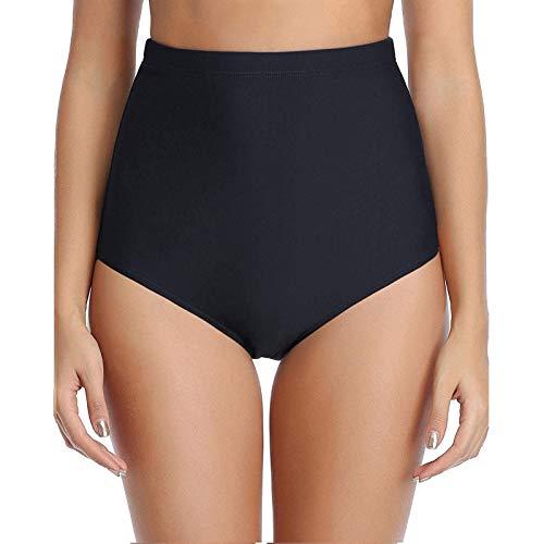 Lazzboy Badeshorts Frauen Bikini-Badehose Mit Hoher Taille Shorts Bottom Badeanzug Badebekleidung Baden Damen Bikinihose Bauchweg Badekleid Hose Mini Bikini Beachwear (Schwarz,S)