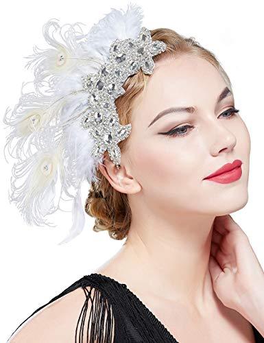 Coucoland 1920s Haarclips Pfau Feder Stirnband Damen 20er Jahre Stil Elegant Haarspange Gatsby Kostüm Flapper Charleston Haar Accessoires (Stil 3 - Beige Silber)