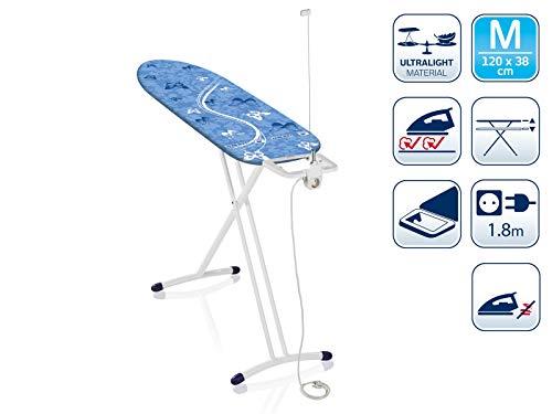 Leifheit Bügeltisch AirBoard Solid M, für Dampfstationen, Bügelbrett mit Kabelhalterung und Steckdose, Dampfbügelbrett mit ultraleichter Bügelfläche und Zwei-Seiten-Bügeleffekt, höhenverstellbar
