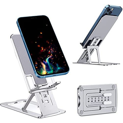 ALLWIN Soporte Ajustable para teléfono Celular para Escritorio Soporte Plegable pequeño Aluminio para teléfono Escritorio Base Estable y Antideslizante teléfono móvil iPhone Android Smartphone