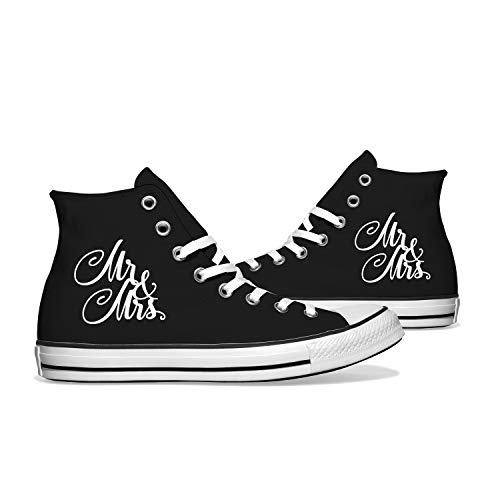 INKICKS - schwarzer Sneaker Bedruckt mit weißen Mr. & Mrs. Design Gr. 42 I Hochzeitsgeschenk I Made in Germany I Für Damen & Herren I Individuelle Anfertigung nach Kundenbestellung