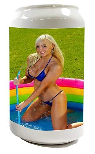LEotiE SINCE 2004 Spardose Sparbüchse Geld-Dose Wiederverschließbar Farbe Weiß Sexy Fun Blondine Pool Keramik Bedruckt