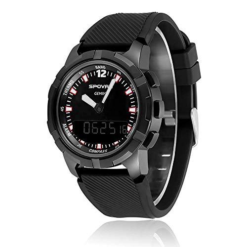Mygsn Watch Outdoor Smart Sportuhr Kompass Mechanische Zeiger-Multifunktionsuhr Watch (Farbe : Schwarz)