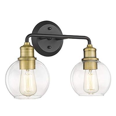 AKEZON 2-Light Bathroom Vanity Lights, Bathroom Light Fixtures Over Mirror with Clear Glass Shade, Matte Black & Antique Brass Finish, KW-7221-2