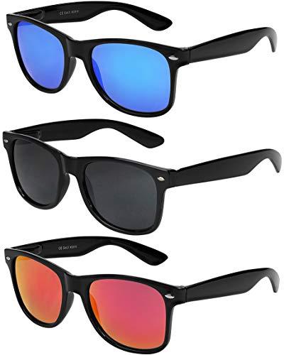 X-CRUZE® 3er Pack Nerd Sonnenbrillen Unisex Herren Damen Männer Frauen Brille Nerdbrille Retro Vintage - schwarz - Set A -