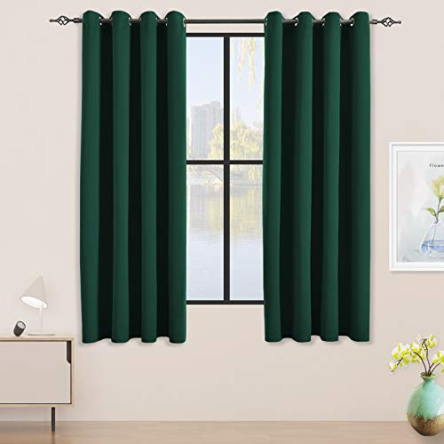 JSFLY Blackout Curtains for Bedroom Thermal Insulated Solid Grommet Window Drapes for Living Room , Set of 2 Curtain Panels 52 W x 63 L inch Long Hunter Green