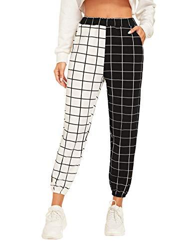 WDIRARA Women's Two Tone Plaid Print Elastic Waist Fashion Straight Leg Pants Black and White M