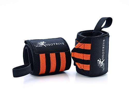 Neotrive Handgelenkschoner für Gewichtheben, Krafttraining, Gymnastik, Bodybuilding, Crossfit – Wrist Wraps Sport, Oranger