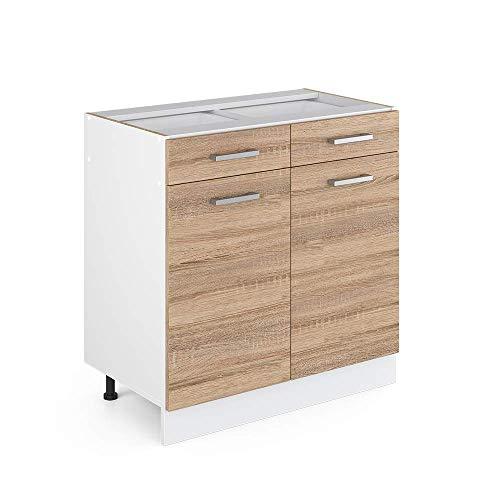 Vicco Küchenschrank R-Line Hängeschrank Unterschrank Küchenzeile Küchenunterschrank Arbeitsplatte, Möbel verfügbar in anthrazit und weiß (Sonoma ohne Arbeitsplatte, Schubunterschrank 80 cm)