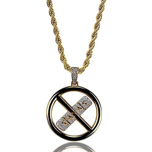 Zidao Gold Iced Out Pill-Anhänger-Halskette Mikro Pflastern CZ-Stein Hip Hop Schmuck Für Männer Frauen 60Cm Seil Kette,Gold