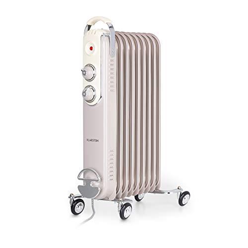 Klarstein Thermaxx Retroheat - Radiador de aceite, 2 reguladores, Termostato, Portacables, Luces LED, 4 ruedecillas, 3 niveles de calor, Potencia 2000 W, Hasta 40 m², 44 x 67,5 x 27 cm, Beige