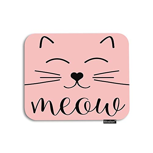 Moslion Cat Mouse Pad Cute Animal Cat Face Smile Meow Gaming Mouse Pad Rubber Large Mousepad for Computer Desk Laptop Office Work 7.9x9.5 Inch Pink