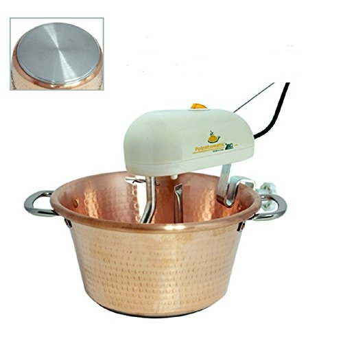 Electric Polenta and Risotto Cooker, Classical Hammered Copper Pot in Traditional Italian Form (30cm 12