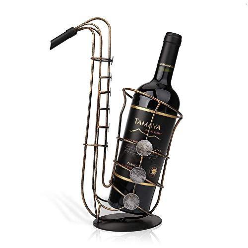 HXCD Sostenedor de Botella de Vino de saxofón de Metal, artesanías prácticas de Adorno de Mesa Hechas a Mano únicas Modernas, Adecuado para decoración de Sala de Estar y Comedor
