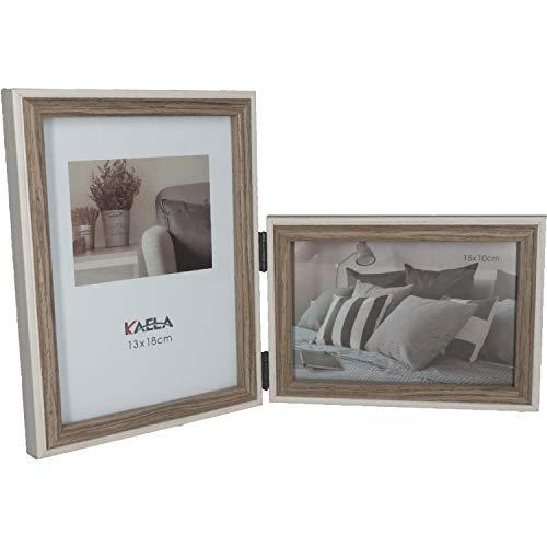 GiDan Portafotos de mesa doble, marco de fotos moderno, 13 x 18 cm, 15 x 10 cm, múltiple de 2 elementos plegables de madera, modernos, artesanales, idea regalo original (marrón)