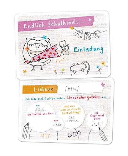 10x Einladungskarten Einschulung EULE LOTTI rosa, Einladungen Schulanfang, Schule, Einschulung, Mädchen