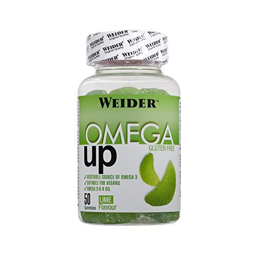 JOE WEIDER VICTORY Omega Up 50 gummies. Sabor lima. Combinación de ácidos grasos omega 3-6-9. Producto 100% veganos y sin gluten.