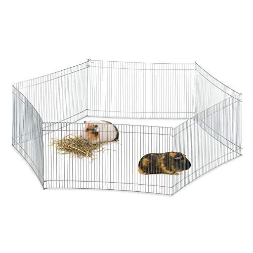 Relaxdays Freilaufgehege Kleintiere, 6 Elemente, engmaschig, Freilauf f. Meerschweinchen & Co, verzinkt, H 27cm, Silber