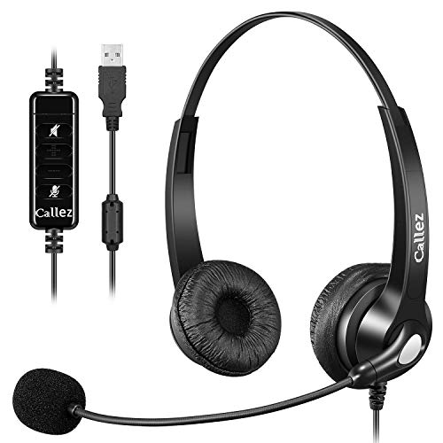 USB Headset with Microphone Noise Cancelling & Audio Controls, Stereo PC Headphone for Business Skype UC Lync Softphone Call Center Office Computer, Clearer Voice, Super Light, Ultra Comfort