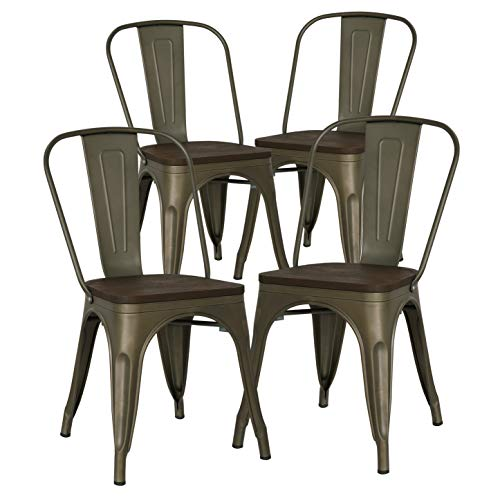 Poly and Bark Trattoria Kitchen and Dining Metal Side Chair with Elm Wood Seat in Bronze (Set of 4)