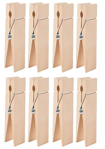 Juvale Houten Grote Wasknijpers - 8-Pack Jumbo Onafgewerkte Houten Clips, Grote Kleding Pins voor Shirts, Laken, Broek, Home Decoratie, DIY Craft, 6 x 1.38 x 1.2 Inches