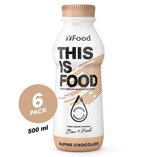 YFood Schokolade | Laktose- und glutenfreier Nahrungsersatz | 33g Protein, 26 Vitamine und Mineralstoffe | Leckere Astronautennahrung - 25% des Kalorienbedarfs | Trinkmahlzeit, 6 x 500 ml (1 kcal/ml)