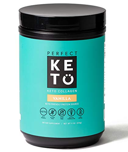Perfect Keto Collagen Powder with MCT Oil - Grassfed, GF, Multi Supplement, Best for Ketogenic Diets, Use in Coffee, Shakes for Women & Men – Vanilla