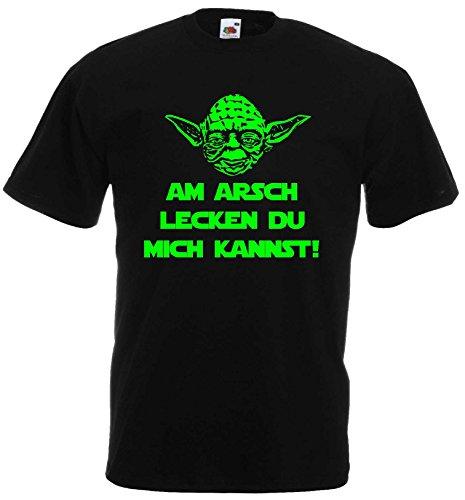 Master Yoda T-Shirt Star Wars Spruch AM Arsch LECKEN DU Mich Kannst!M