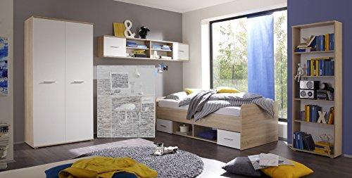 moebel-guenstig24.de Jugendzimmer Set Nanu 4 teilg. Komplettset Bett Schrank Regal H�ngeregal Eiche Sonoma wei�
