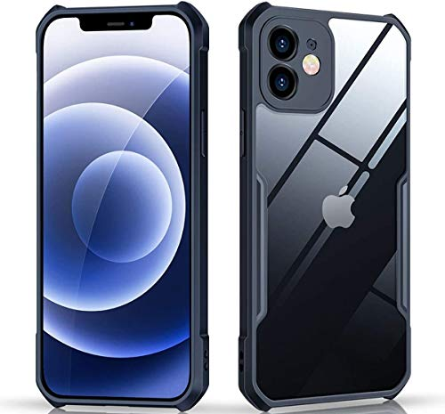 RIGGEAR® Fortify XUNDD Transparent Hybrid Hard PC Back TPU Bumper Impact Resistant MIL-STD 810G Drop Tested Case/Cover for iPhone 12 | iPhone 12 Pro (Black)