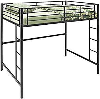 Pemberly Row Metal Full/Double Kids Teen Loft Bunk Bed in Black Finish