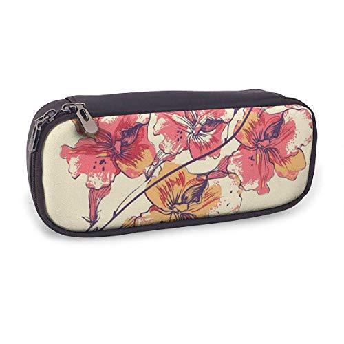 Estuche Escolar de Gran Capacidad,Floral con Flores Y Escarabajos Coloridos,Bolsa de Lápiz Organizador para Material Papelería con Cremallera Doble