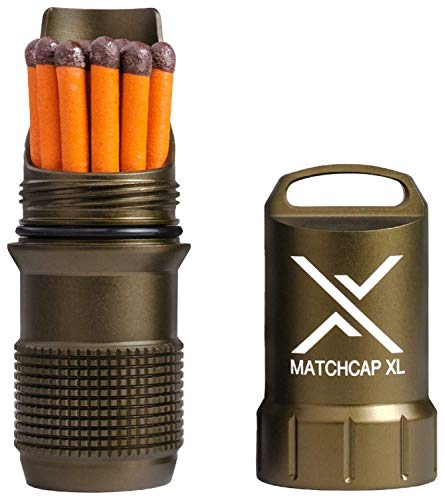 EXOTAC - MATCHCAP XL Waterproof Camping Match Kit Holder with Integrated Striker (Olive Drab)