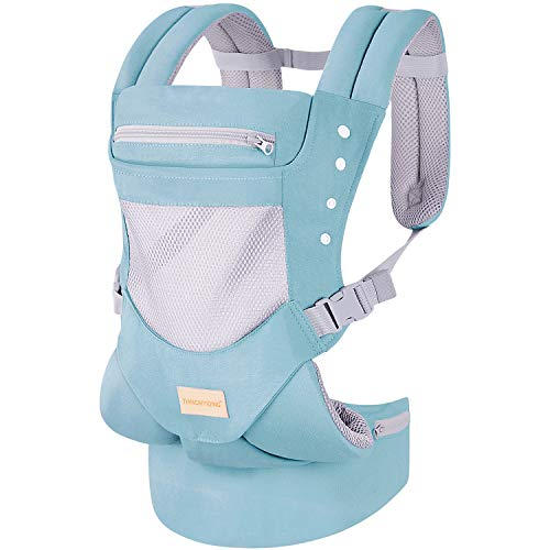 Infant Toddler Baby Carrier Wrap Backpack Front and Back Hip Seat amp Hood Soft amp Breathable Cotton Cool Air Mesh Green