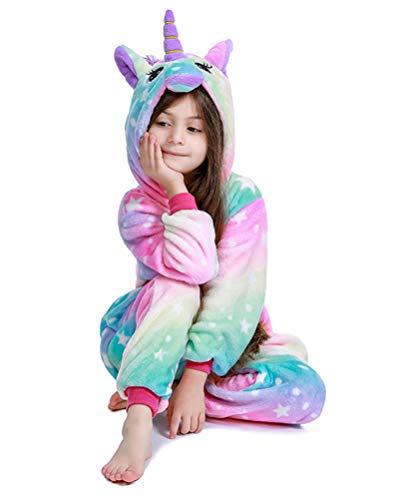 PlushCosplay Kids Animal Onesie Unicorn Pajamas Halloween Costume, Colorful Galaxy, 4T Suit Height 37'-40'