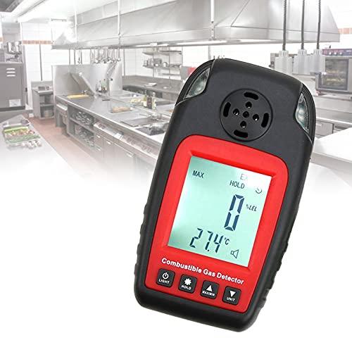 EnweKapu Gas Prüfer, Tragbar Gasmelder Erdgas, Propangas Melder mit HD LCD-Anzeige, Ton- Und Lichtalarm, Hohe Empfindlichkeit Gasmelder für Den Haushalt Gaswarngerät