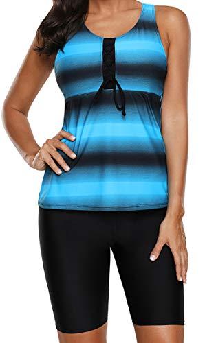 Ocean Plus Damen Zweiteilig X-Back Tankini Set mit Schwarz Hotpants mit Langer Badeshorts Farbverlauf Gestreift Bademode Shorts mit Bügeln (L (EU 42-44), Blau Hose)