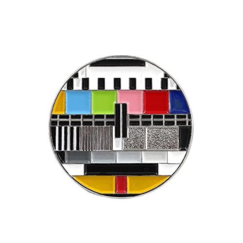 Retro Antena Tv Pines Color Copo de nieve Pantalla Sin señal Señal de TV Imagen Antena Televisión Joyería Broches de regalo para Friends-Style2