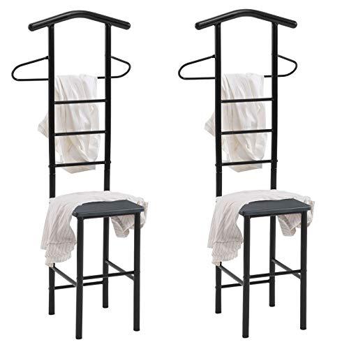 CARO-Möbel Herrendiener JIVO Kleiderständer Garderobenständer im 2er-Set, Metall schwarz und MDF in schwarz