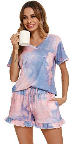 Vlazom Ensemble Pyjama éTé Femme Haut De Pyjama Femme Manche Courte Col V Con Deux Poches VêTements De Nuit Grande Taille 2 Pieces,XL,Violet Clair