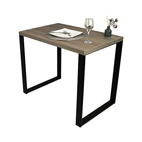 POKAR Tavolo da Pranzo Tavolo da Cucina Tavolo da Pranzo Solido con Gambe in Metallo Nero 90 x 60 cm, Olmo Liberty fumé