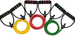 THE ORIGINAL RESISTANCE BANDS Adjustable, Professional Quality, Long Enough for Shoulder Press- designed to stand up to the most rigorous workout conditions. PREMIUM COMFORT Workout Bands with Comfort Handles for continued comfort during repetitive m...