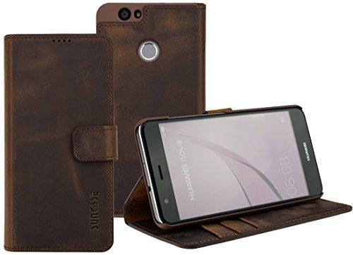 Suncase Book-Style (Slim-Fit) für Huawei Nova Ledertasche Leder Tasche Handytasche Schutzhülle Hülle Hülle (mit Standfunktion & Kartenfach) antik coffee
