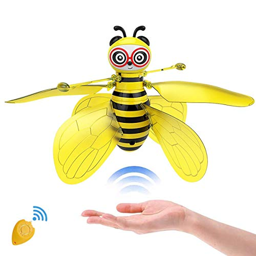 SALNIER Flying Ball Toys, Bee Flying RC Toy for Kids Boys Girls Gifts Rechargeable Light Up Drone Infrared Induction Helicopter with Remote Controller for Indoor and Outdoor Games