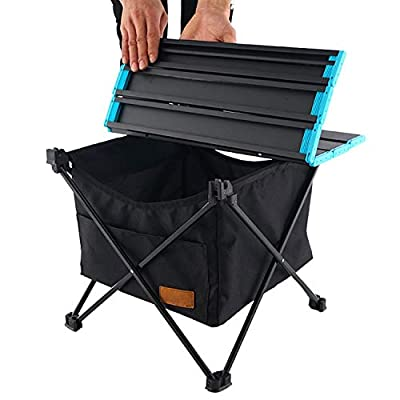 Huoutspor Folding Camping Table with Storage Bag, Portable Collapsible Aluminium Picnic Table with Waterproof Hanging Pocket for Domestic Use, Outdoor BBQ, Cookout, Picnic, Camping and Beach (Small)