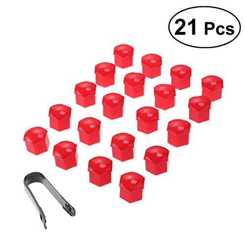 VORCOOL 21 in 1 Sechskant Radmutter Abdeckungen Schrauben Abdeckungen Schraube Schützen Kappen 17mm mit Clips (Rot)